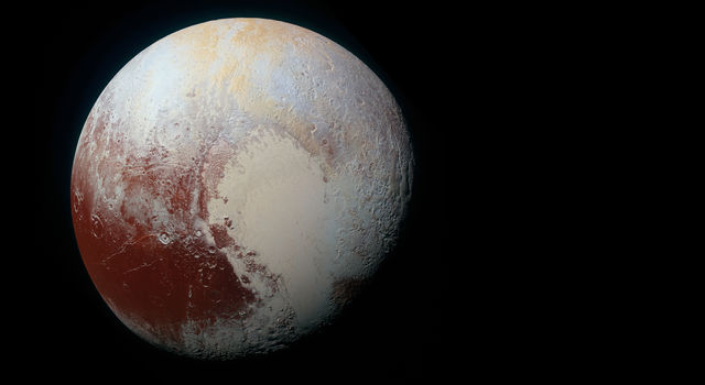 Pluto in false color as imaged by NASA's New Horizons spacecraft