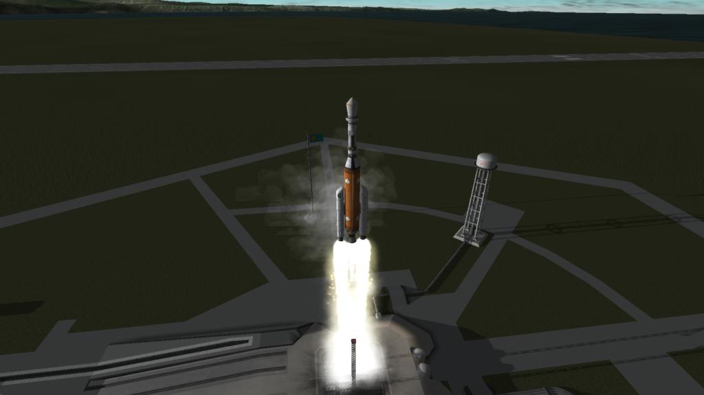 Launching a rocket in Kerbal Space Program.