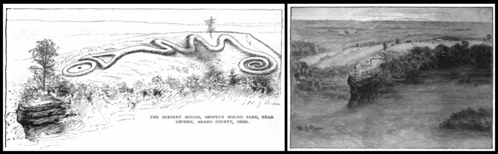 Illustrations of Serpent Mound from an 1890 article by Frederic Ward Putnam in The Century magazine.