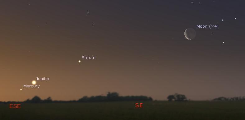 Southeastern horizon on before dawn