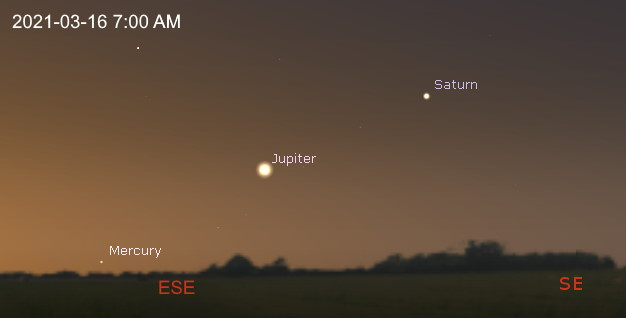 East-southeastern horizon on before dawn
