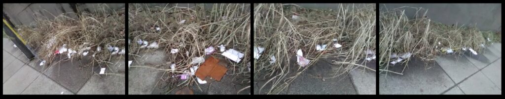 A roadside collection of used take-out food containers.