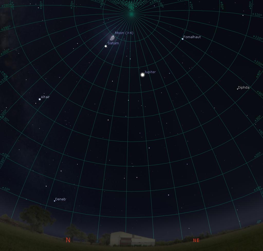 Overhead before dawn in the southern hemisphere