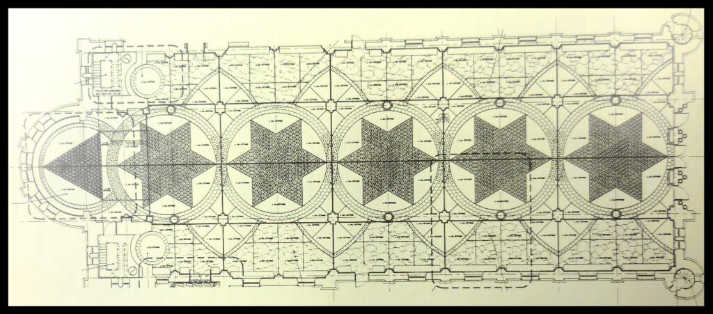 Diagram of the floor of the church at St. Meinrad.