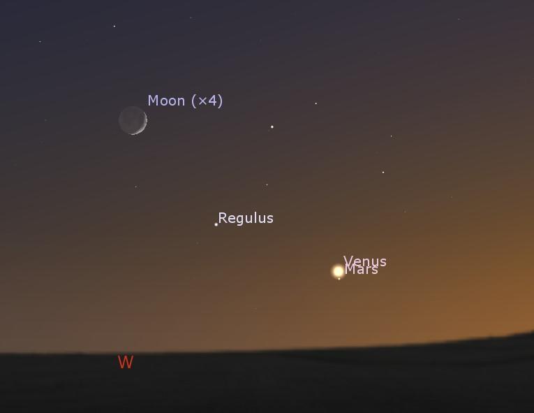 Conjunction of the Moon, Regulus, Venus and Mars