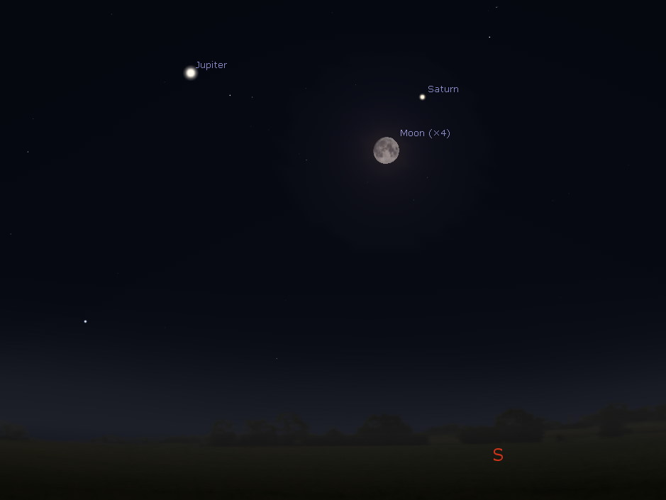 South-southeastern horizon at midnight